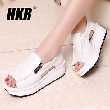 HKR 2016 women sandals summer wedges sandals gladiator sandals round toe zipper platform sandals female shoes flip flops 8332