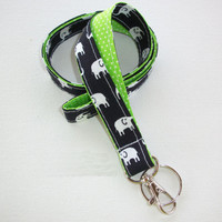 Lanyard ID Badge Holder - Lobster clasp and key ring - design your own white elephants Dark Navy black - lime green pin dots - double sided