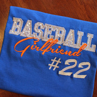 Baseball Girlfriend Applique Shirt ---BLING