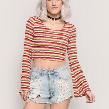 Now & Then Bell Sleeve Crop Top - Clothes at Gypsy Warrior