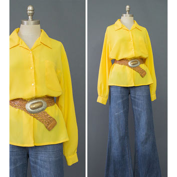 Vintage 80s Shirt - 1980s Bright Yellow Blouse - New Wave Minimalist Oversize Blouse - Long Sleeve Button Up Secretary Blouse - Yellow Shirt