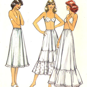 70s petticoat pattern Lingerie four gored petticoat with or without ruffles in three lengths vintage sewing pattern Style 2171 Sz 10 to 12
