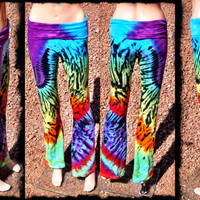 Bassnectar Yoga Pants - Handmade Tie-dye Bassdrop Leggings - One of a Kind Festival Pants - GratefullyDyed