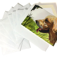 Pack of 10 Watercolor Golden Retriever Stationery, Painted Dog Themed Cards With Envelopes, Ten Pack Beautiful Dog Painting Note Cards 4x6""