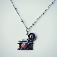 silver camera necklace, pink opal necklace, photographer necklace, gift for photographer, cute necklace, photo necklace, unique necklace