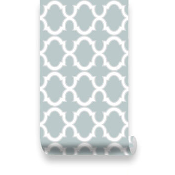 Moroccan Trellis Pattern WallPaper - Grayish green & White