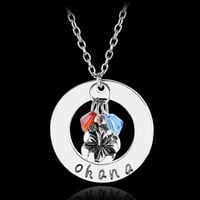 "Beauty and the Beast ""Ohana""Hand carved Pendant with Flower,Red Crystal Charms Lilo & Stitch Statement Necklace DIY Jewelry"