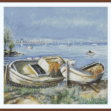 Boats on the shore CROSS STITCH PATTERN 885