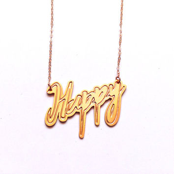 Happy Statement Jewelry Gold Filled/Silver Necklace Cool Chic Design Pendant Unisex Fashion Hipster Bohemian Stylish Design Art Jewelry