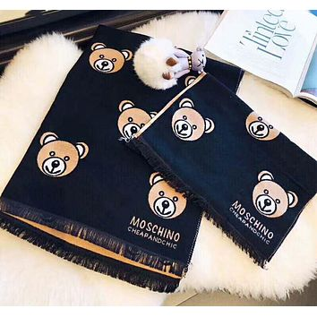 MOSCHINO Newest Stylish Women Men Children Lovely Bear Print Cashmere Cape Scarf Scarves Shawl Accessories