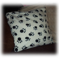 Cute white and black paw prints fleece Cushion 16 x 16 Inches ideal for car home or pet, fab gift for animal, cat dog lovers