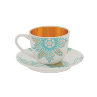Kinnersley Espresso Cups and saucers - White with 22 Carat Gold Interior