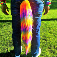 Neon Rainbow Faux Fur Tail Extra Long Pile Fur Bushy Animal Tail UV Reactive
