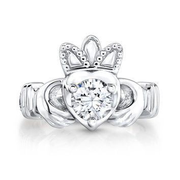 Ladies Irish Claddagh ring 18kt white gold with diamond and Blue Sapphire engagement ring 0.10 ctw with 1ct Round White Sapphire center