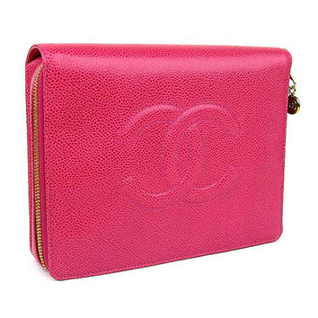 90s Vintage CHANEL caviarskin travel and cosmetic case pouch in hot bright pink, rare piece. Best vintage Chanel for the season
