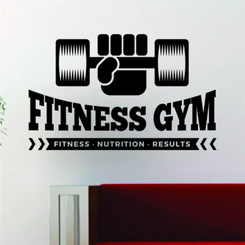 Fitness Gym Design Quote Decal Sticker Wall Vinyl Art Words Decor Workout Weight Dumbbell Inspirational