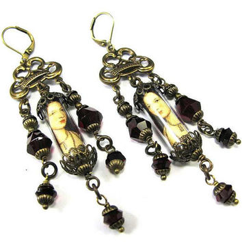 Embellished Brass Filigree Earrings - Ancient Romance Series - Tudor Jewels Collection - Anne Boleyn Earrings with Garnet Czech Glass