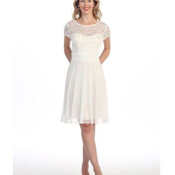 White Lace Chiffon Cap Sleeve Short Dress 2015 Prom Dresses
