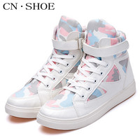 2016 New Women Canvas Shoes High Top Fashion Casual Flats Breathable Spring Autumn Lace-up Female Shoes Mixed Colors Size 35-44