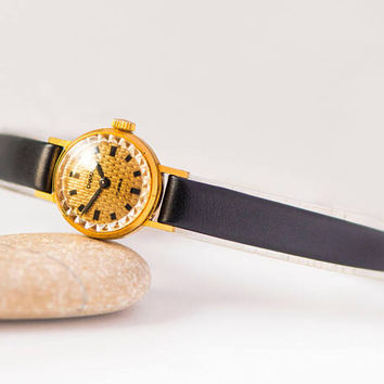Very small women's watch Seagull, gold plated watch tiny, wristwatch retro fashion for women, classic women watch, new premium leather strap