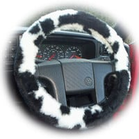 Fuzzy Faux fur Black and White Cow print car steering wheel cover furry and fluffy