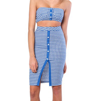 Step Into Summer Gingham Two Piece Dress Set - Navy