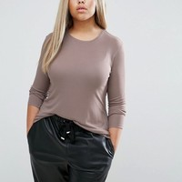 ASOS CURVE Top with Slouchy Rib and Drape Back at asos.com