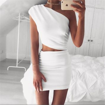 Solid Color Fashion Oblique Shoulder Irregular Sleeveless Crop Tops High Wais Short Skirt Set Two-Piece