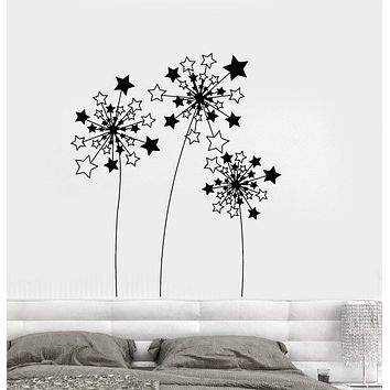 Vinyl Wall Decal Stars Dandelions Flowers Art Home Decorating Idea Stickers Mural Unique Gift (ig5038)