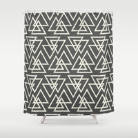 Trilogy Triangles-Dark Gray & Cream Shower Curtain by Bohemian Gypsy Jane