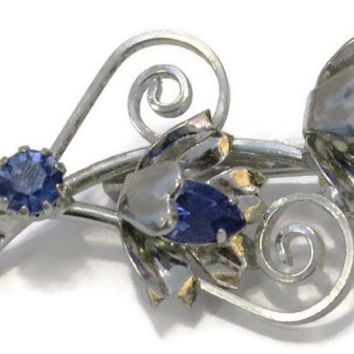Vintage Blue Sapphire Rhinestone Flower Brooch Pin In Silver Tone, Bridal Jewelry, Something Blue