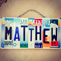 License plate art. Boys. Room decor. Art. Custom order. Christmas gift. Matthew. Babyboy. Mancave. Personalized