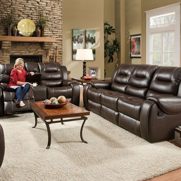 Corinthian Jamestown Umber Reclining Sofa and Loveseat