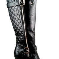 Women's Faux Leather Boot with Heel and Quilt Detail