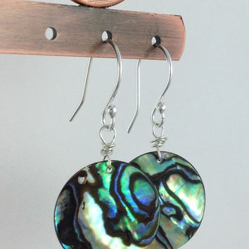 Natural Abalone Shell Earrings, Sterling Silver Jewelry, Round Natural Paua Shells