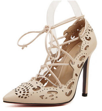 8bf4365d7e ON SALE 2016 Rihanna Lace Up Women Pumps Sexy Laser Cut Outs High Heels  Women Wedding Shoes Stiletto Pointed Toe Plus Size 35-43