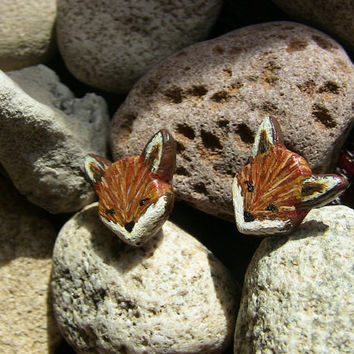 Fox Earrings Hand Painted Polymer Clay Animal Jewelry Stud Earrings on Surgical Stainless Steel Posts