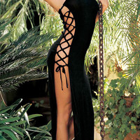 Black Strapless Side Lace-up Long Dress