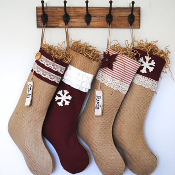 4 Shabby Chic Burlap Christmas Stockings, Christmas decoration, burlap stocking