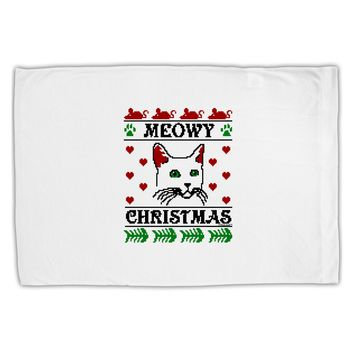 Meowy Christmas Cat Knit Look Standard Size Polyester Pillow Case by TooLoud