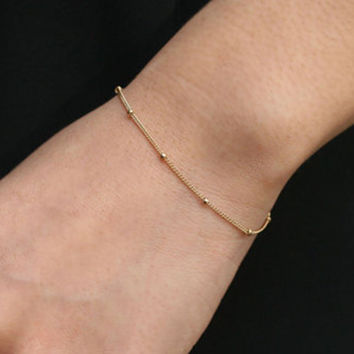 Gold Bead Bracelet Thin Minimalist Dot Tiny Dainty