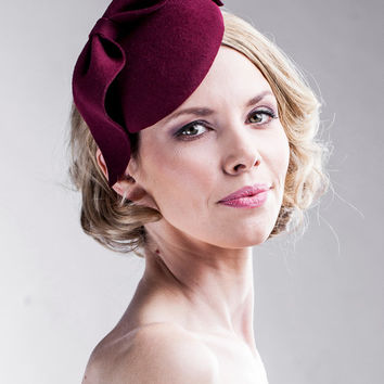 Burgundy Fascinator on a Headband - Easy to Wear - Head Piece - Bow Hair Piece - Party Accessories - AW14/15