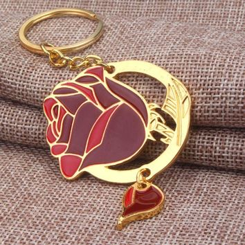 2017 New Fashion Beauty and the Beast Key chain For Men Women Jewelry