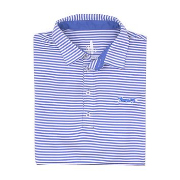 Longshanks Bunker Stripe Prep-Formance Polo in Royal by Johnnie-O