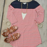 Cape Cod Boat Shack Red & Navy Striped Top
