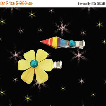 SALE Mod Hair Clips - Flower Power Hair Jewelry - OOAK Set of Barrettes made with Vintage