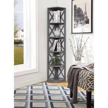 Convenience Concepts Oxford 5 Tier Corner Bookcase, Gray 203080gy | Bellacor