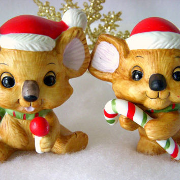 Vintage Christmas Lefton Koala Bear Figurines, Set of 2 Santa Bears, Holiday Decor