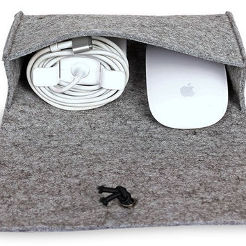 For macbook ipad Laptop Mouse Charger USB Cable Bag digtal storage bag wool felt bag pouch adapt mouse case and Power Bag