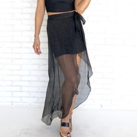 See Your True Intentions Sheer Skirt in Black